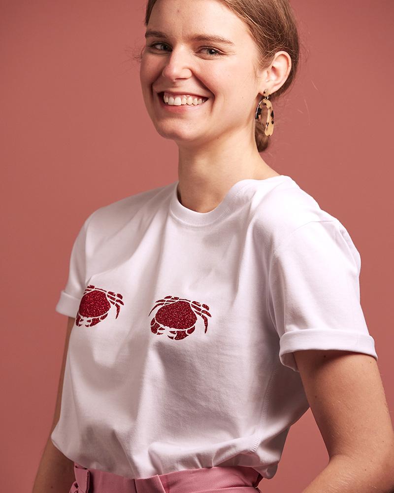 top blanc original avec motif crabes