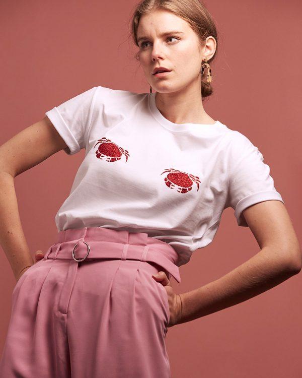 tshirt femme avec des crabes rouges pailletés