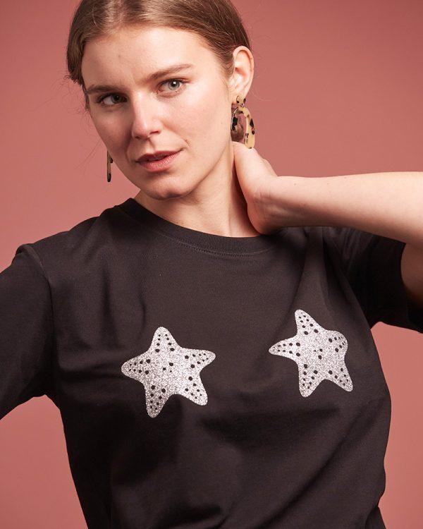 top noir femme coton bio et étoiles de mer