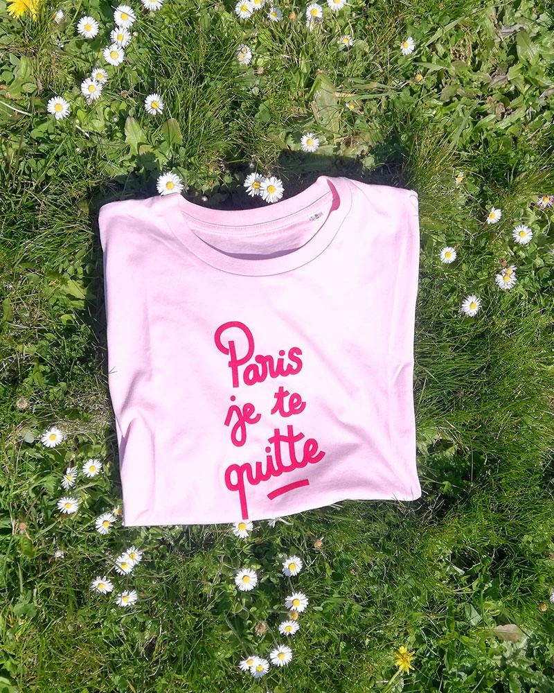 t-shirt rose paris je te quitte