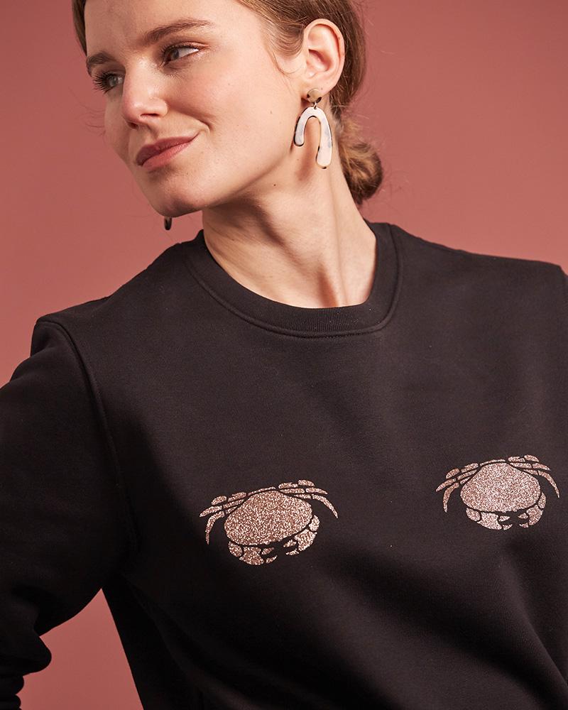 sweat-shirt noir decore