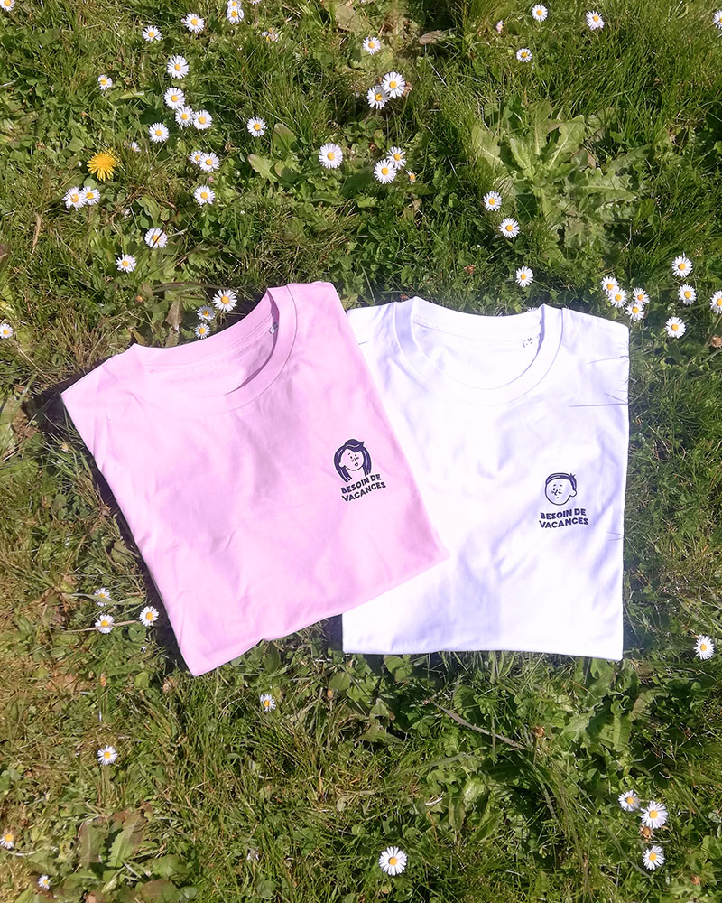 teeshirt rose et blanc besoin de vacances