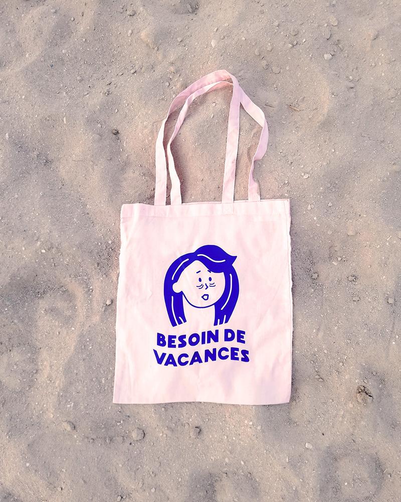 Tote bag rose besoin de vacances