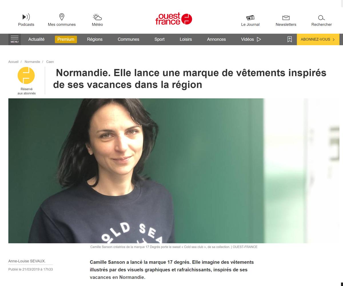 article web ouest france 17 degres