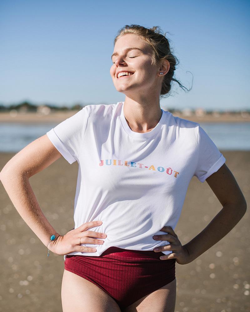 teeshirt femme avec message juillet aout