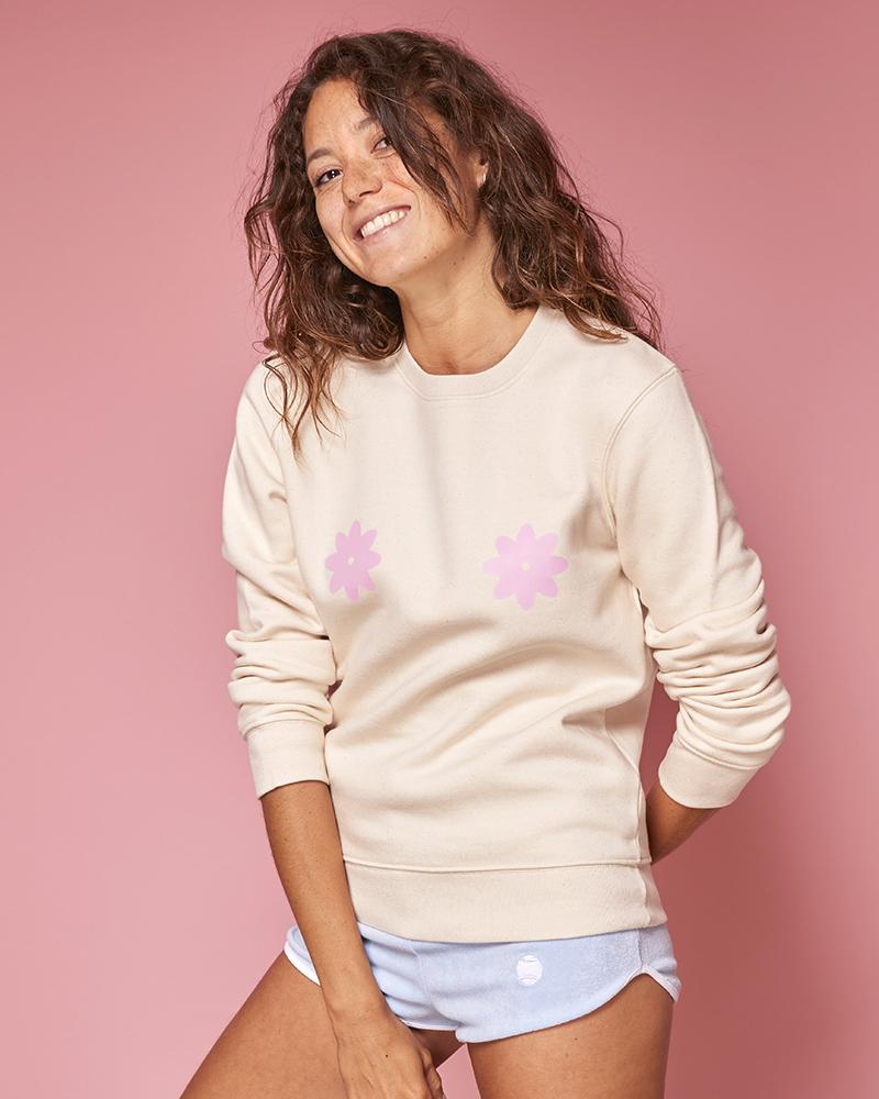 sweatshirt beige avec imprime fleur