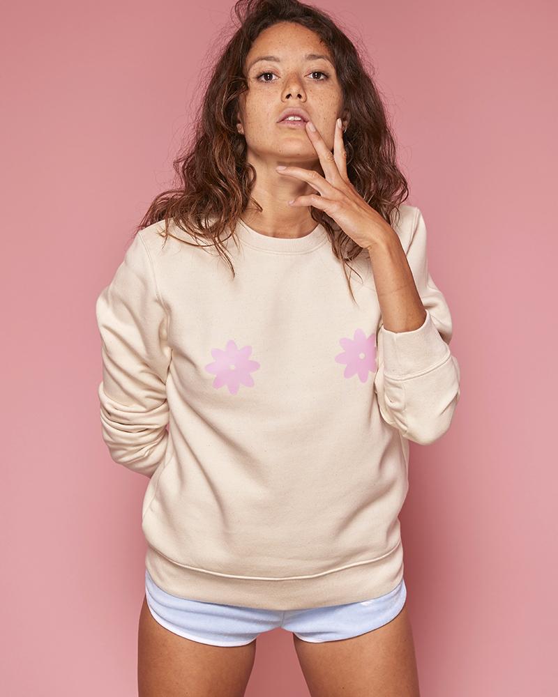 sweatshirt crème chiné avec fleurs pastel